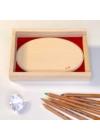 Gravírozott fa díszdoboz női alak grafikával Tenyérnyi Táblácskához